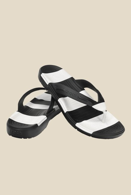 Crocs Beach Line Black & White Flip Flops