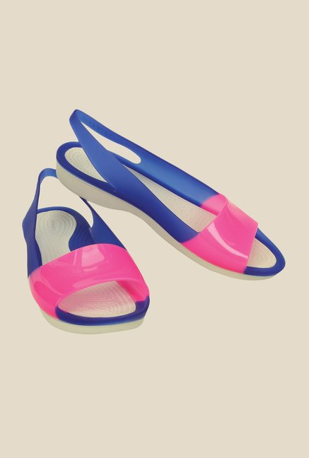 Crocs Color Block Cerulean Blue & Pink Sandals