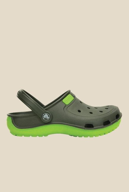 Crocs Duet Wave Olive & Volt Green Clogs