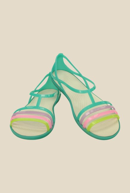 Crocs Isabella Island Green Slide Sandals
