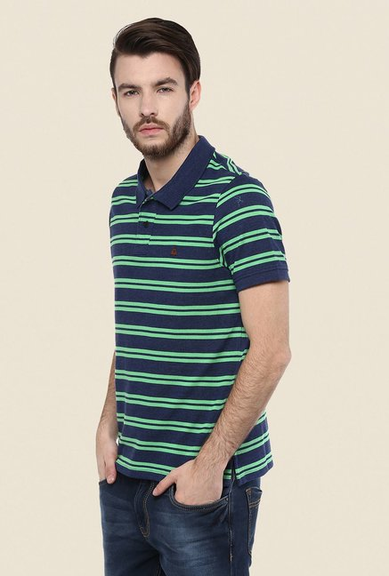 Turtle Navy & Green Striped Polo T Shirt