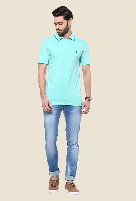 Turtle Turquoise Solid Polo T Shirt