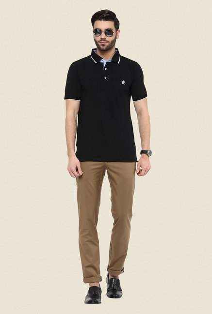 Turtle Black Solid Polo T Shirt
