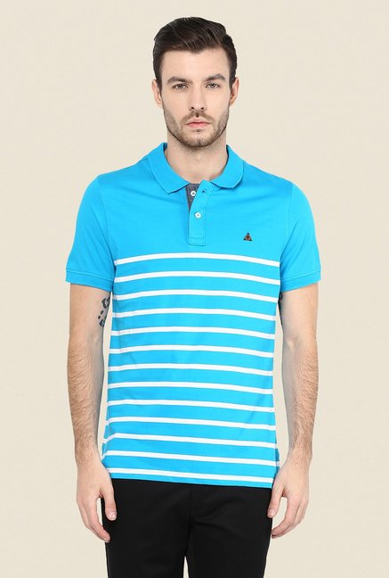 Turtle Sky Blue Striped Polo T Shirt