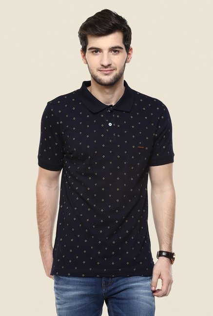 Turtle Navy Printed Polo T Shirt