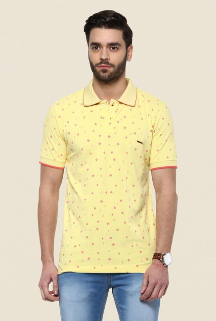 Turtle Yellow Printed Polo T Shirt