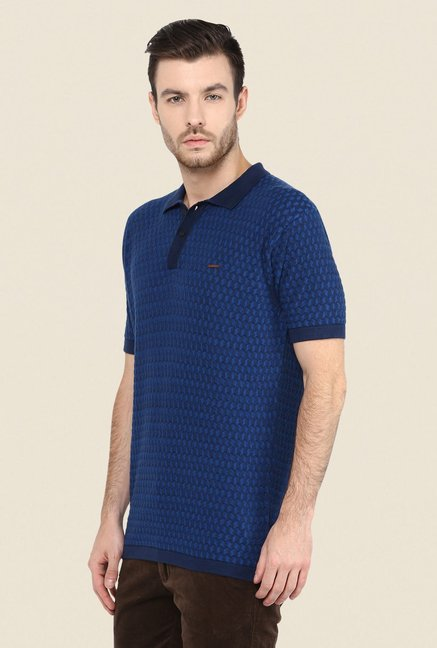 Turtle Dark Blue Self Print Polo T Shirt