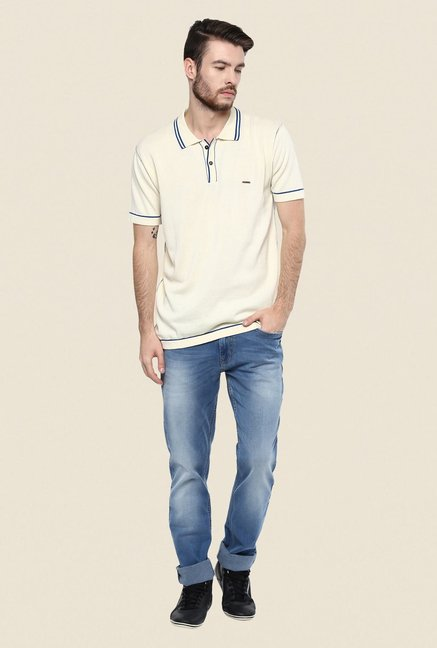 Turtle Beige Solid Polo T Shirt