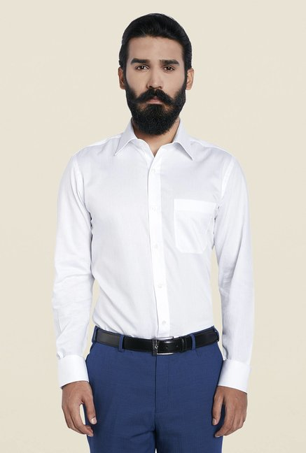 Raymond White Solid Regular Shirt