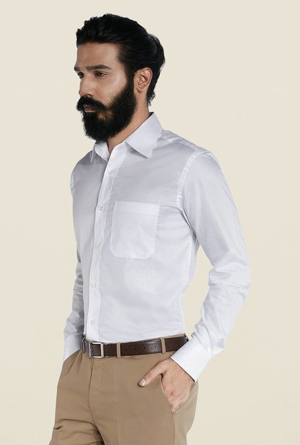 Raymond White Checks Cotton Shirt