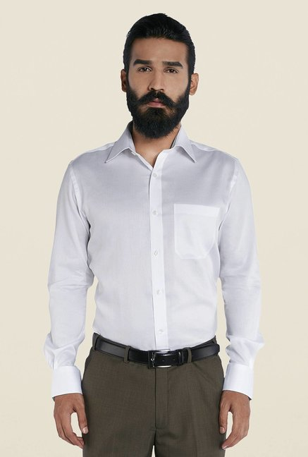 Raymond White Solid Formal Cotton Shirt
