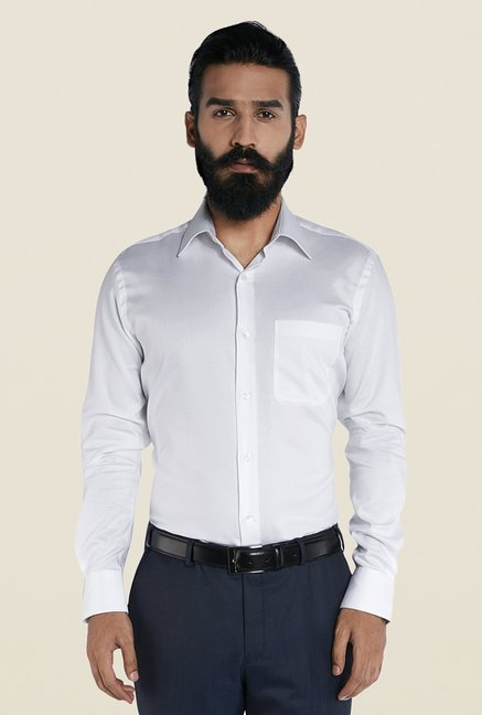 Raymond White Cotton Regular Fit Solid Shirt