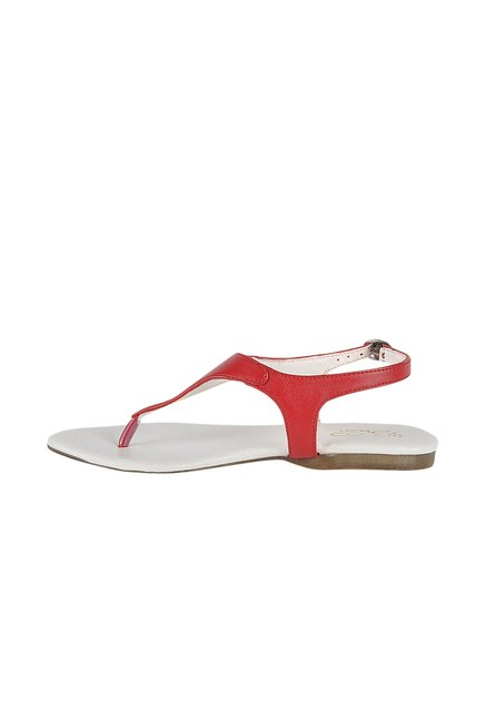 La Briza Red Back Strap Sandals