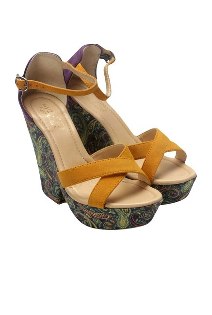 La Briza Yellow Ankle Strap Sandals