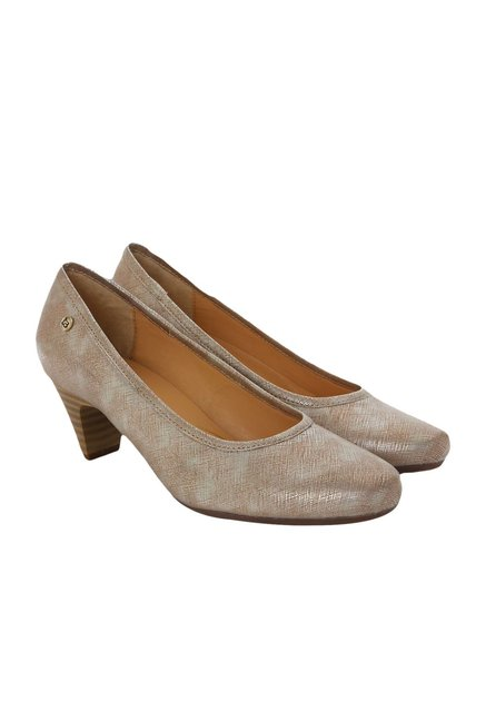 La Briza Nude Block Heeled Pumps