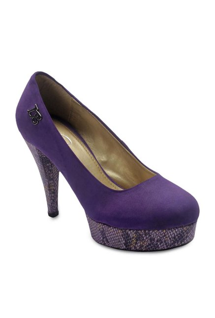 La Briza Purple Platform Heeled Pumps