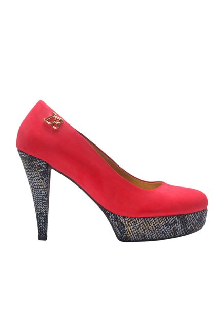 La Briza Red Platform Heeled Pumps