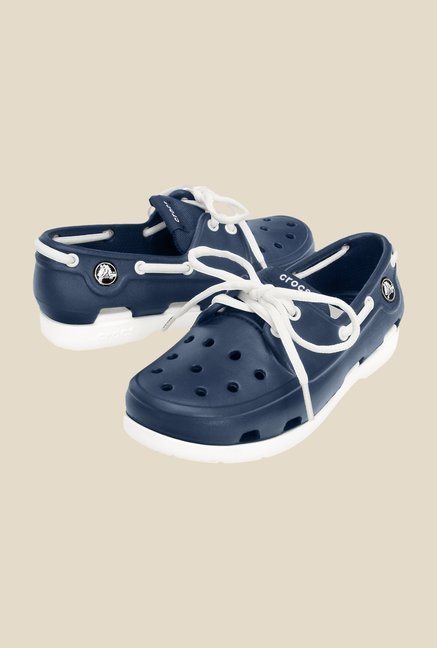 Crocs Beach Line GS Navy & White Boat Shoes