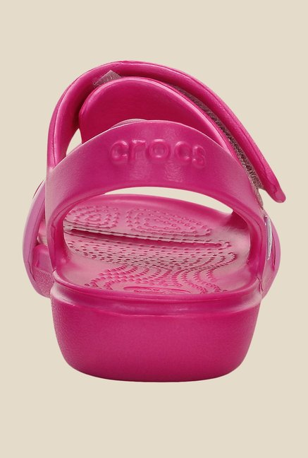 Crocs Keeley Petal Charm Neon Magenta Floater Sandals