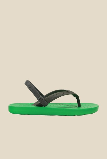 Crocs Chawaii Graphite & Green Back Strap Flip Flops