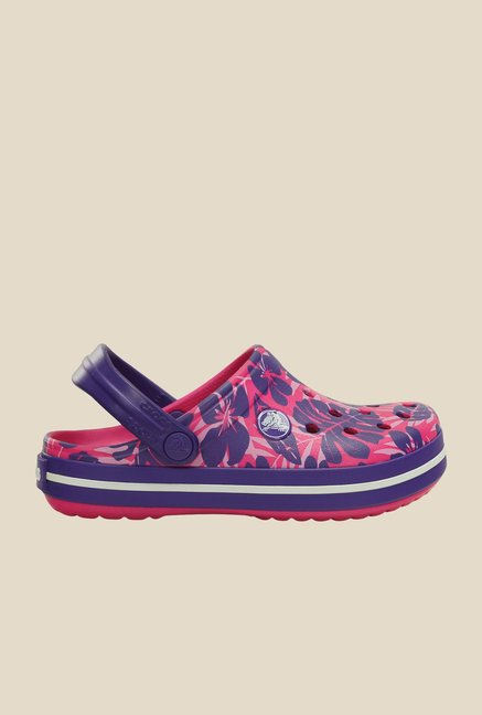 Crocs Crocband Tropical Print Candy Pink & Violet Clogs