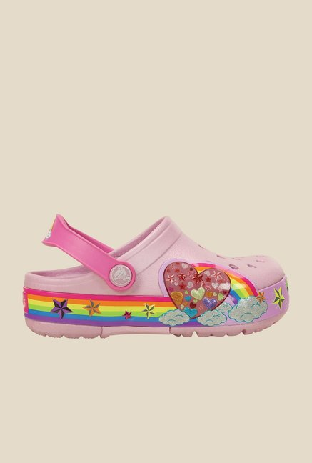 Crocs lights Rainbow Heart Ballerina Pink Clogs
