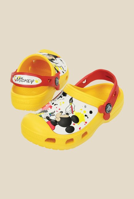 Crocs CC Disney Mickey Paint Splatter Yellow & Red Clogs