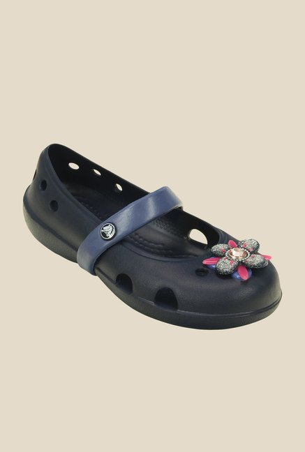 Crocs Keeley Springtime PS Navy & Bijou Blue Mary Jane Shoes