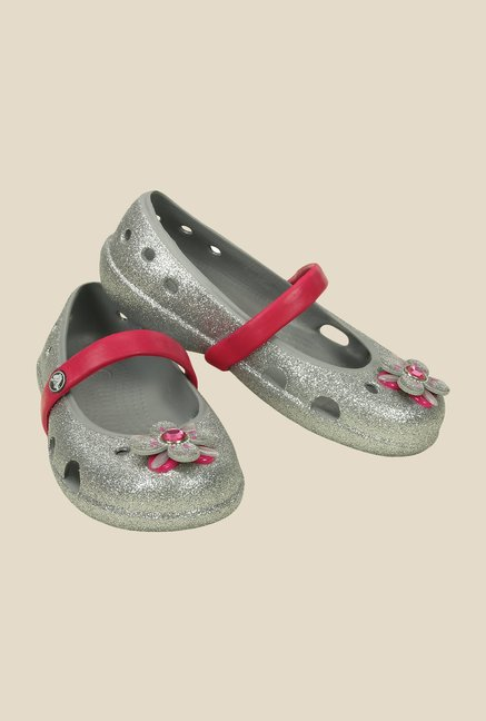 Crocs Keeley Glitter Springtime PS Silver Mary Jane Shoes