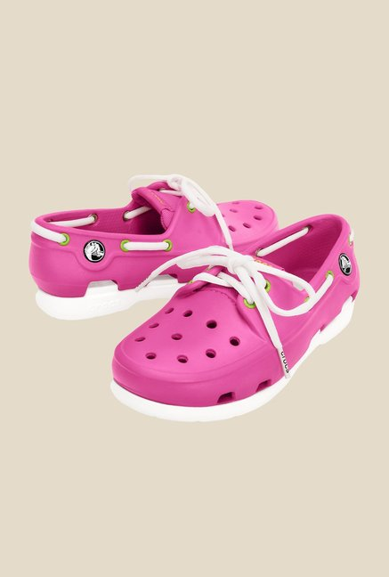 Crocs Beach Line Fuchsia & White Boat Shoes