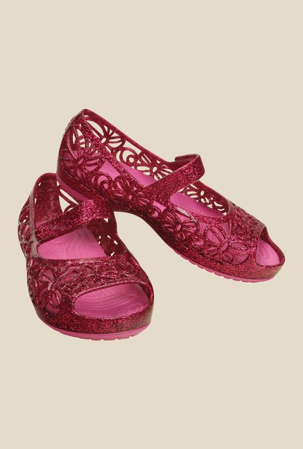 Crocs Isabella Glitter PS Fuchsia & Pink Mary Jane Shoes