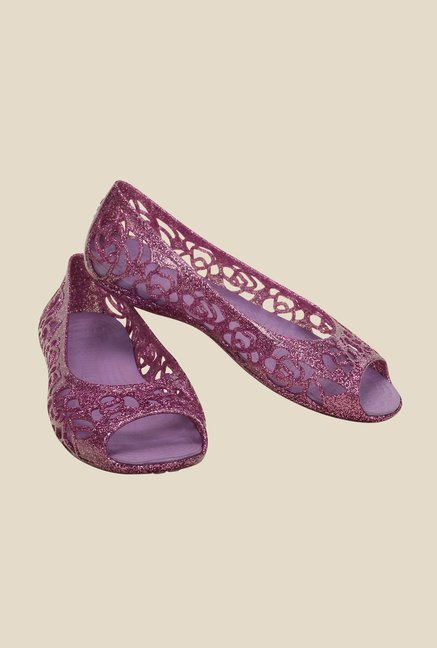 Crocs Isabella Glitter PS Wild Orchid & Iris Peeptoe Shoes
