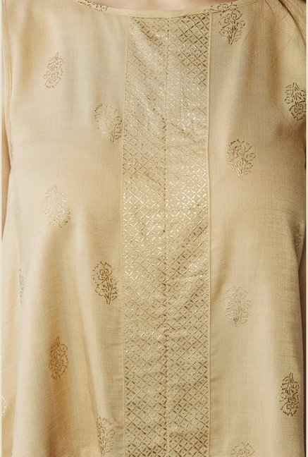 Global Desi Beige Printed Top