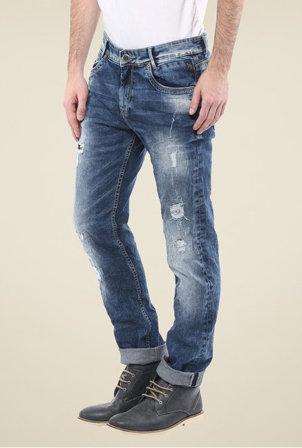 Mufti Blue Distressed Jeans
