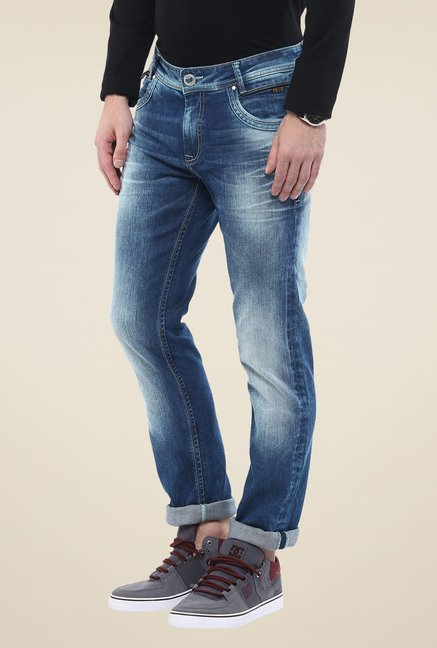 Mufti Blue Solid Jeans