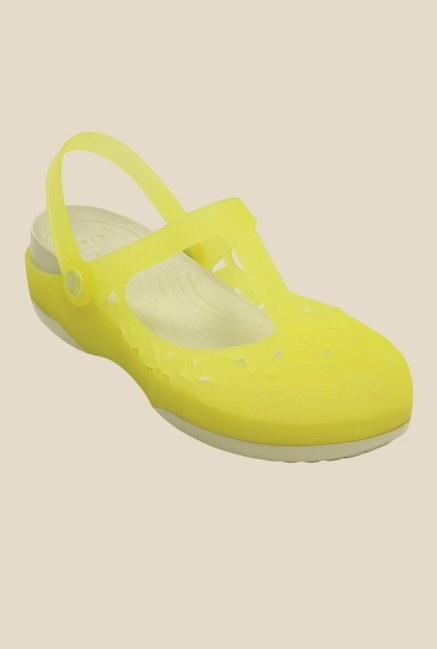 Crocs Carlie MJ Flower Chartreuse & Stucco Clogs