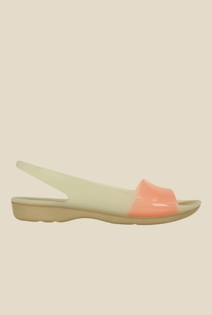 Crocs ColorBlock Stucco & Peach Sling Back Sandals