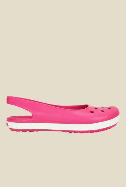 Crocs Crocband Airy Candy Pink & White Sling Back Sandals