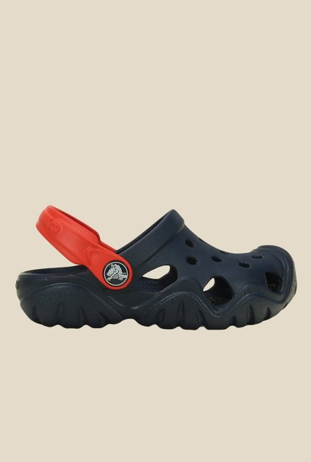 Crocs Swiftwater Navy & Flame Clogs