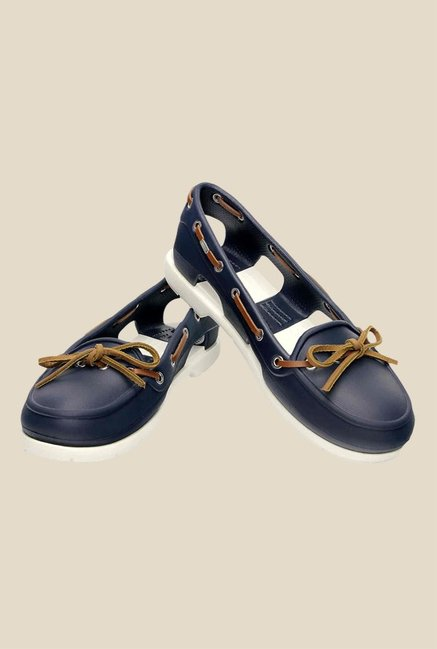 Crocs Beach Line Navy & White Boat Shoes