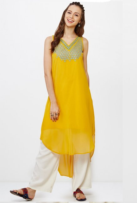 Global Desi Mustard Embroidered Kurta