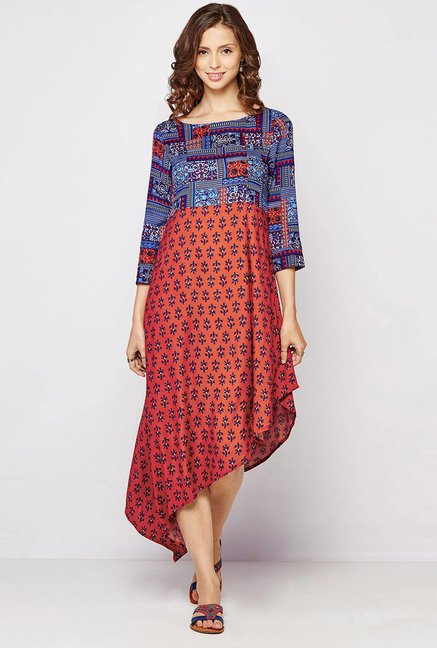 Global Desi Rust & Blue Printed Kurta