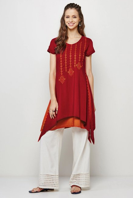Global Desi Maroon Embroidered Kurti