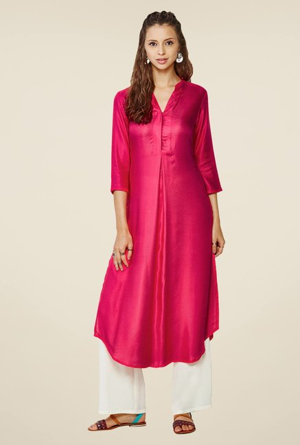 Global Desi Pink Self Print Kurta