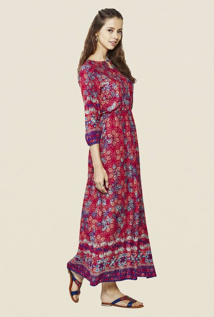 Global Desi Red Printed Dress