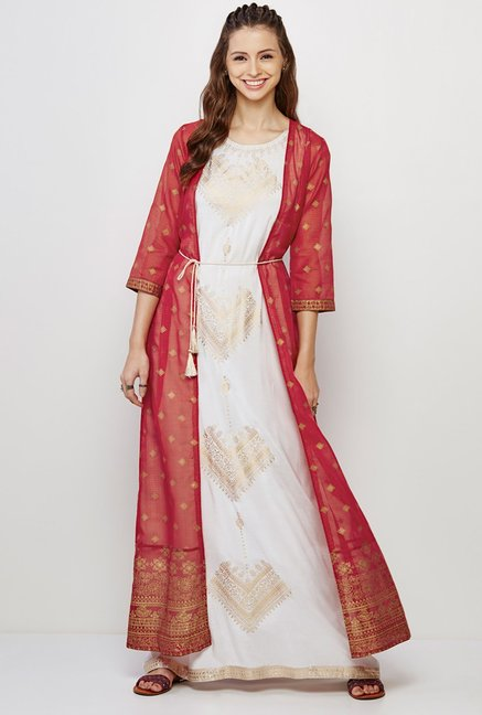 Global Desi Rust & Off White Printed Kurta And Jacket Set