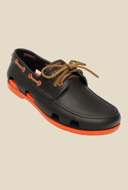 cc4967d65 Buy Crocs Beach Line Espresso   Orange Boat Shoes for Men at Best Price    Tata CLiQ