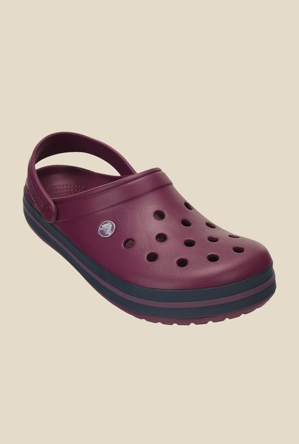 42c51f59c Buy Crocs Crocband Plum   Navy Back Strap Clogs for Women at ...