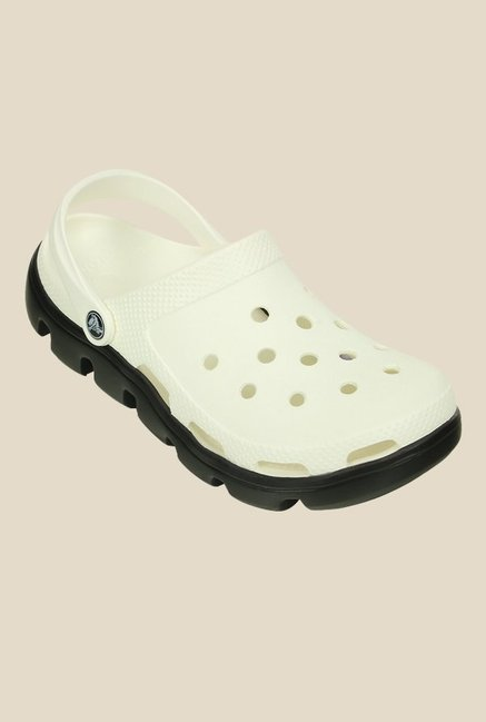 713a806deb98 Buy Crocs Duet Sport White   Black Back Strap Clogs for Women at Best Price    Tata CLiQ