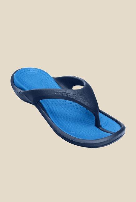 282b3fcfe Buy Crocs Athens II Navy   Ocean Blue Flip Flops for Women at Best ...